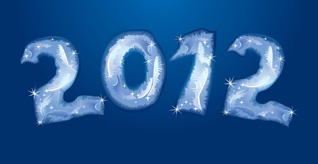 New Year banner - numerals are made by hoarfrost  Vector