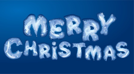 Postcard Merry Christmas - words are made by hoarfrost Stock Vector - 11101468