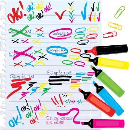 beroerte: Set van verschillende kleuren stiften en merken Stock Illustratie