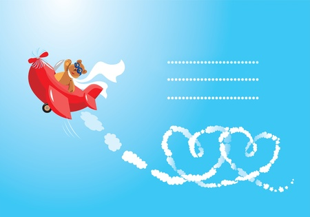 Funny cartoon. Teddy bear aviator in love. Pilot by the red plane draws hearts in the sky.  Vector