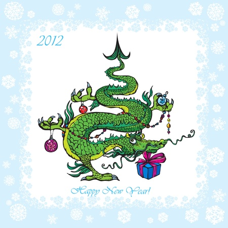 rime: New Year postcard with Christmas-tree - symbol 2012 funny dragon.