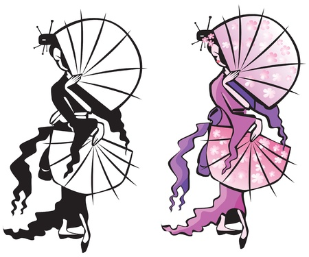 fan dance: japanese girl with fans (black and white and color pictures). Isolated on white background.  Illustration