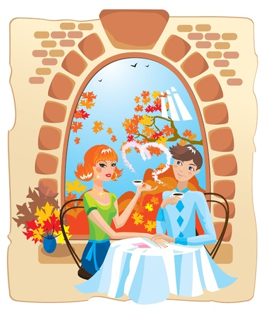 dating couple in the cafe.  Stock Vector - 11101470