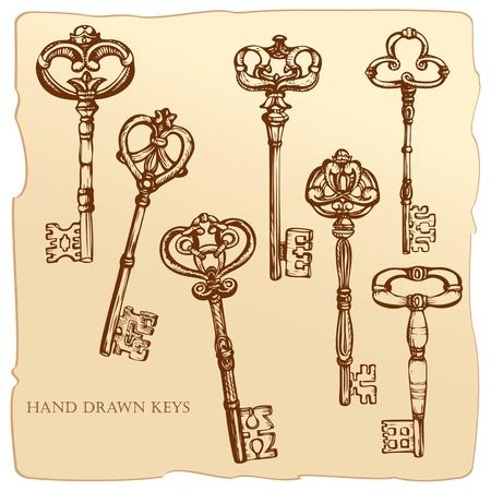 古美術品: 旧式なキーのセット。