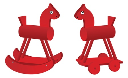 red toy horses isolated on white background.  Vector