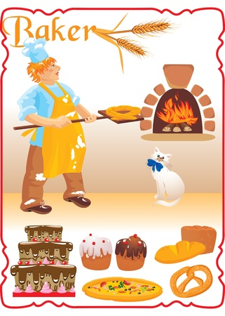 young red haired baker with white cat next to fire place and set of different bakery - bread, biscuit, cake, pizza, Easter cake. Vector