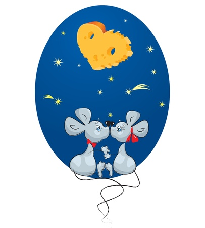 Valentine`s Day concept: cartoon of a Male Mouse and a Female Mouse on sky background with stars and moon-heart - shaped Cheese Vector