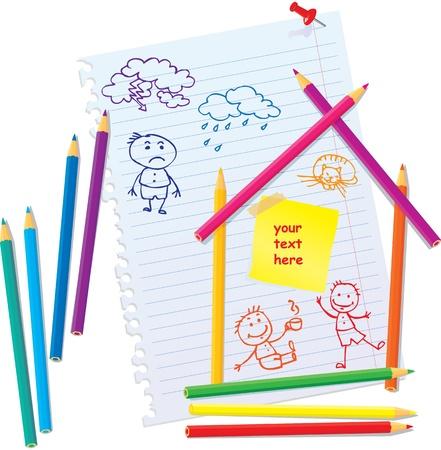 Design Concept for real estate - color Pencils and hand drawn peopleDesign Concept for real estate - color Pencils and hand drawn people Stock Vector - 11142382