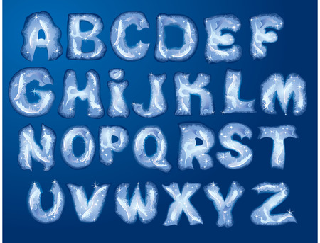 ice font: Alphabet Merry Christmas and New Year - letters are made by hoarfrost