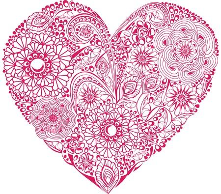 filigree: Red bloemig hart op een witte achtergrond. Element voor je Valentijn `s Day Ontwerp