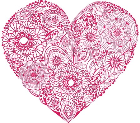filigree background: Red floral heart on white background. Element for your Valentine`s Day Design