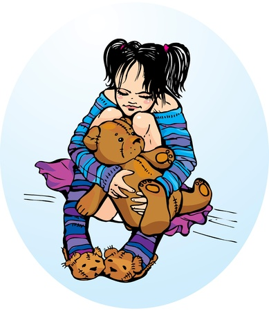 Cute little girl dressing funny slippers with Teddy bear Vector