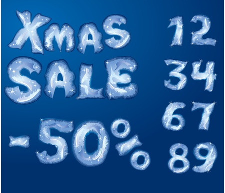 Symbol Christmas SALE, numerals and letters are made by hoarfrost Stock Vector - 11142134