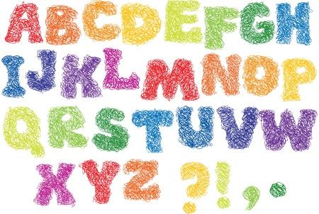 alphabet graffiti: Dibujo alfabeto - letras de diferentes colores se realizan como un garabato