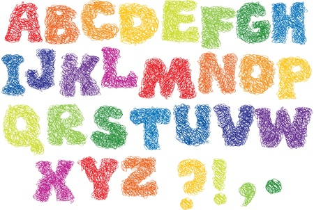 Sketch Alphabet - different colors letters are made like a scribble