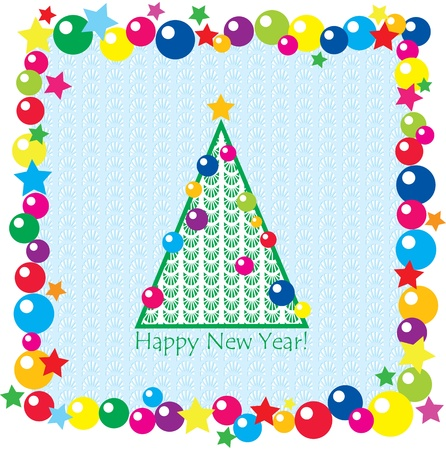 christmas tree, balls and stars on seamless background. New year postcard Vector