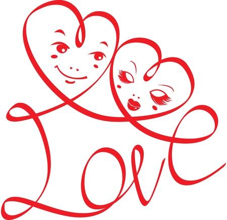 anniversario di matrimonio: Parola AMORE con cuori e facce buffe isolato su sfondo bianco. progettazione per il giorno di Valentine `s o un invito di nozze