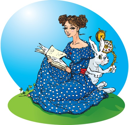 Alice`s adventures in Wonderland. Alice read a book, White Rabbit run in a great hurry. Raster version Vector