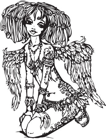 Angel girl with tattoo on her body - illustration is made in anime style. raster version Vector