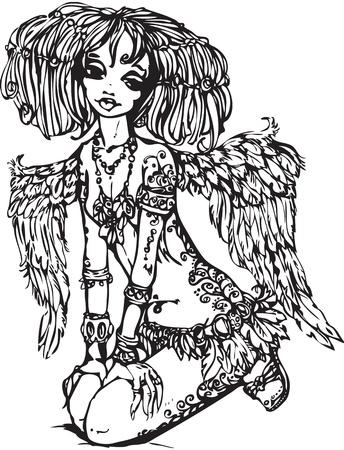 女の子 - 彼女の体に入れ墨の天使図はアニメ スタイルで行われます。ラスターのバージョン
