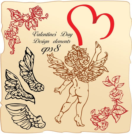 Set of vintage elements and vignettes for Valentine`s Day greeting - heart, roses, angels wings, cupid Illustration