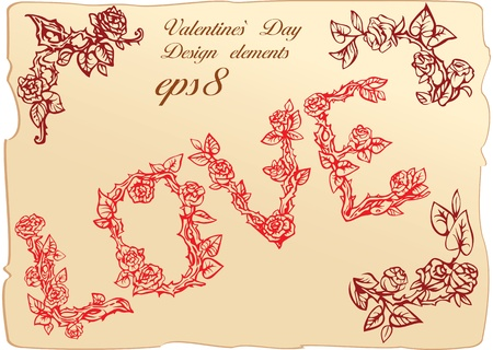 darling: Set of vintage elements and vignettes for Valentine`s Day greeting - word LOVE is made of roses