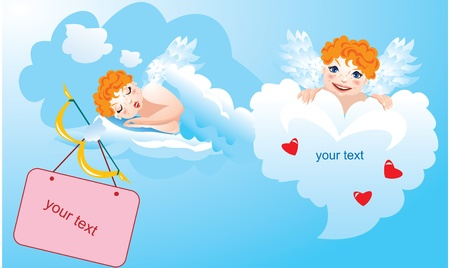 Postcards for Valentine`s Day with funny angels Vector