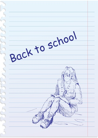 back to school illustration with hand-drawn girl Vector