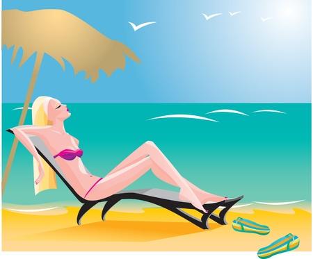 a thong: girl on beach Illustration