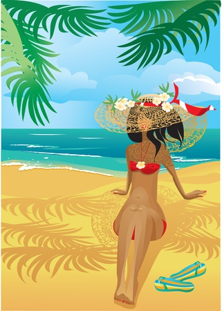 Girl on a tropical beach with straw hat Vector
