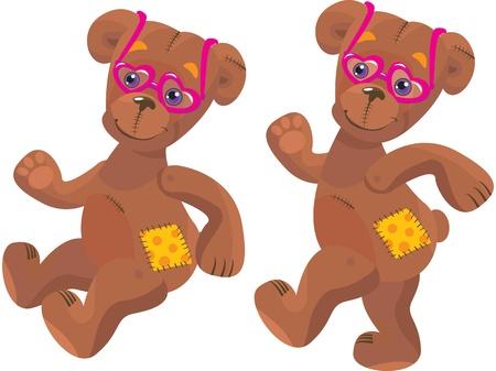 merrily: Un cartone animato felice orsacchiotto con gli occhiali cuore rosa Dom