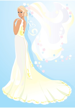 Beautiful young bride on light blue background Vector