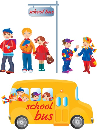 school activities: School kids on bus stop and going to school by bus