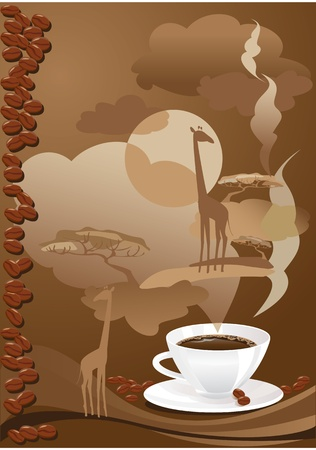 Cup of coffee with abstract design elements.