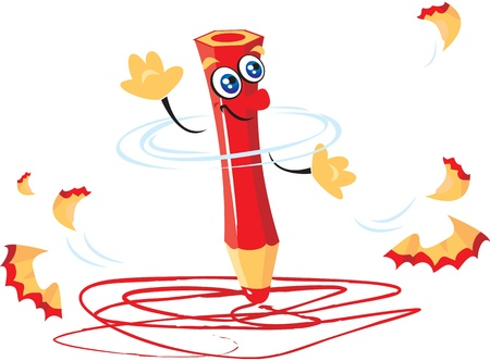 pencil sharpener: writing funny crazy red pencil cartoon Illustration