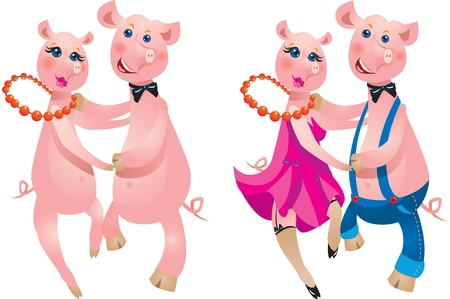 A happy cartoon couple of pigs dancing Vector