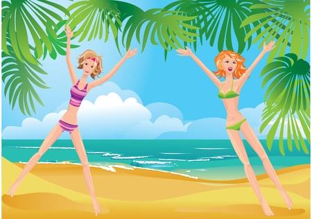 enfant maillot de bain: 2 filles sur la plage tropicale