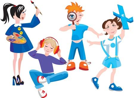 set of cute cartoon kids Stock Vector - 11142392