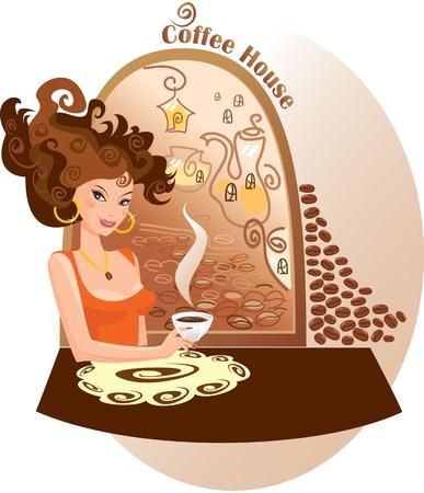 Beautiful girl into coffee house Vector