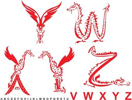 Series of dragons alphabet, letters VWXYZ, fantasy dragon font Vector
