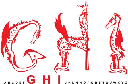 Series of dragons alphabet, letters GHI, fantasy dragon font Vector