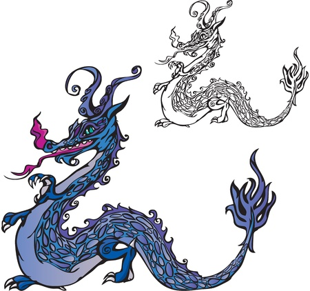 Symbol 2012 dragon (color and black and white picture) Vector