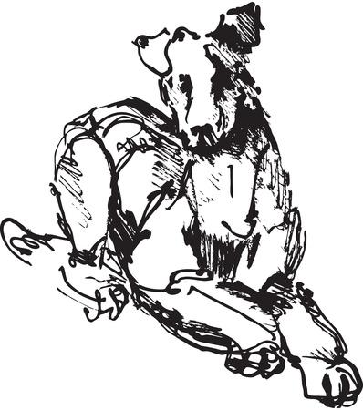 garabatos: tinta de dibujo del perro: jugar terrier jóvenes. imagen en blanco y negro