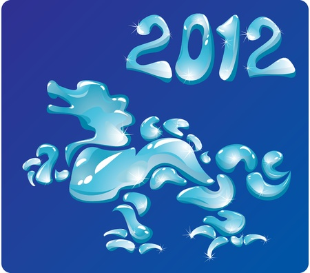Symbol 2012 Dragon is made of water drops.  Vector
