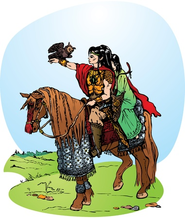 Illustration for fantasy fairy tale: 2 elfs riding on horse Vector