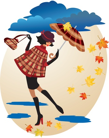 monsoon clouds: English girl in checkered coat with umbrella and handbag - Autumn illustration Illustration