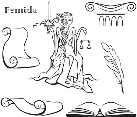 dama de la justicia: Conjunto de símbolos de la justicia (libro, en la columna, la pluma, rollo de pergamino) y Femida - una diosa de la justicia