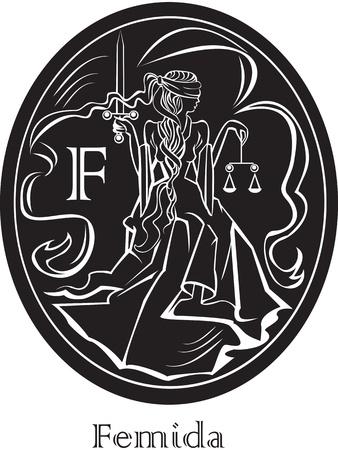 dama de la justicia: Femida - una diosa de la justicia - marco ovalado Vectores
