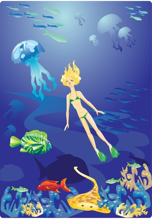 Diving in Red Sea - girl and fishes Vector