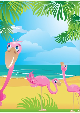 Portrait border with flamingos on beautiful tropical beach Vector